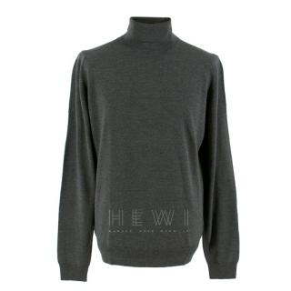 John Smedley Connell Grey Roll Neck Wool Pullover