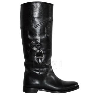 Ralph Lauren Collection Black Stirrup Riding Boots