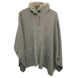 Brunello Cucinelli Cashmere Lamb Fur Trim Cape