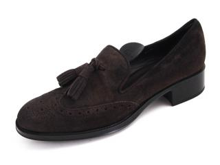 Tod's Brown Suede Tassel Loafers