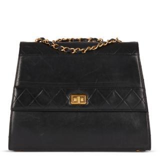 Chanel Vintage Black Leather Trapeze Flap Bag