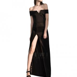 Galvan Satin Back Crepe Off-The-Shoulder Gown