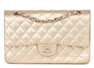 Chanel Metallic Gold Leather Double Flap Bag