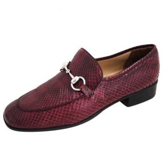 Gucci Burgundy Snakeskin Horsebit Loafers
