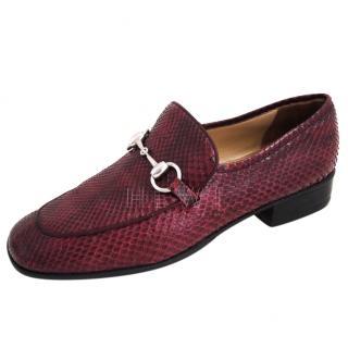 Gucci Burgundy Snakeskin Horsebit Loafers