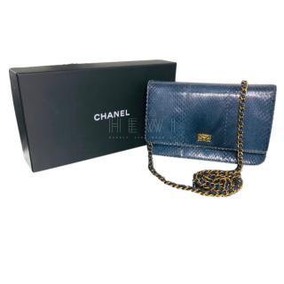 Chanel Blue Snakeskin Flap Bag