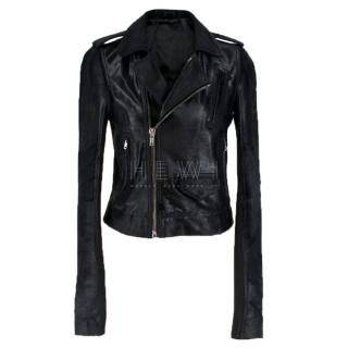 Rick Owens Calf Hair Black Biker Jacket