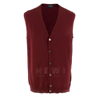 Zanone Wool Blend Red Buttoned Vest