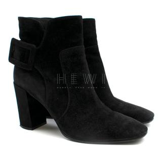 Roger Vivier Buckle-detailed Black Suede Ankle Boots