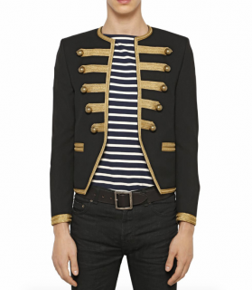 Saint Laurent Men's Wool Embroidered Officer Jacket