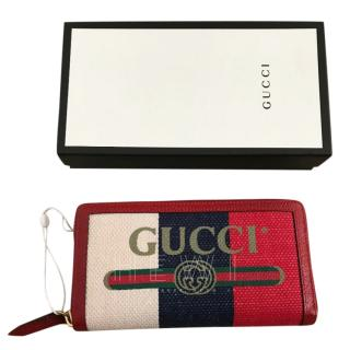 Gucci Logo Canvas Web Stripe Zip Wallet