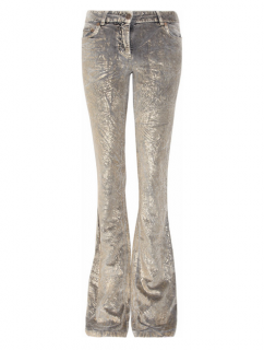 Roberto Cavalli metallic paint-effect velvet pants