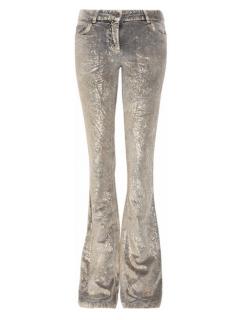 Roberto Cavalli metallic paint-effect velvet pants