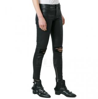 RTA Distressed Black Leather Skinny Pants