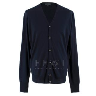 John Smedley Midnight Blue Merino Wool V-neck Cardigan