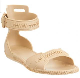 Givenchy Beige Zip Detail Sandals