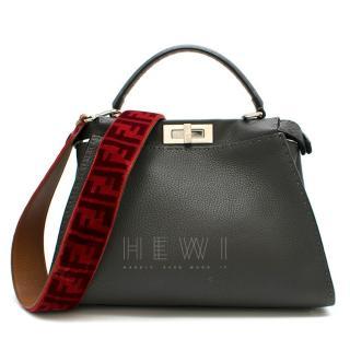 Fendi Peakaboo Medium Grey Leather Handbag W/ Red Strap You