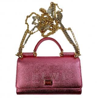 Dolce & Gabbana Metallic Pink Sicily Von Bag