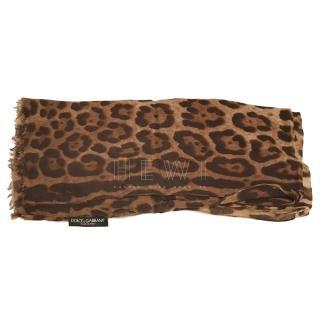 Dolce & Gabbana leopard print cashmere stole /scarf