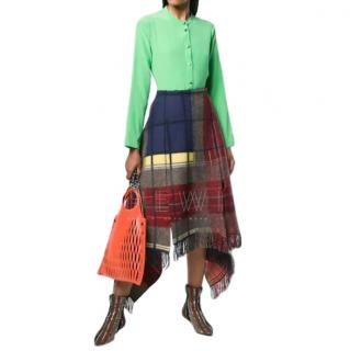 Sonia Rykiel Tartan wool asymmetric skirt