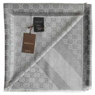Gucci Grey Wool & Silk Monogram Scarf