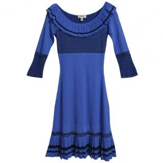 Temperley Blue Silk, Cashmere & Wool Dress