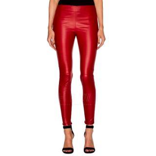 Saint Laurent Red Leather Skinny Pants