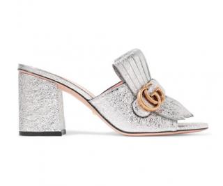 Gucci Marmont fringed logo-embellished metallic cracked-leather mules