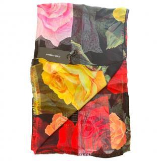 Dolce & Gabbana Black Rose Print Silk Twill Wrap Scarf