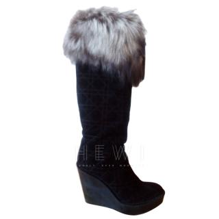 Dior Suede and  Fox Fur Tall Boots