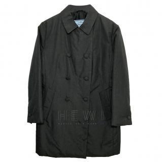 Prada Grey Silk Double Breasted Coat