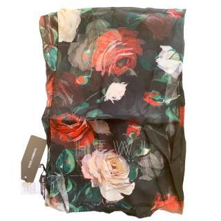 Dolce & Gabbana Rose Print SIlk Twill Wrap Scarf