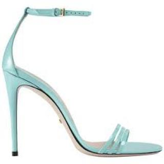 Gucci turquoise patent ankle strap sandals