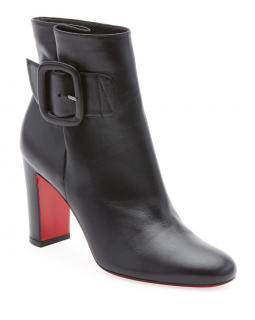 Christian Louboutin black leather buckle detail ankle boots