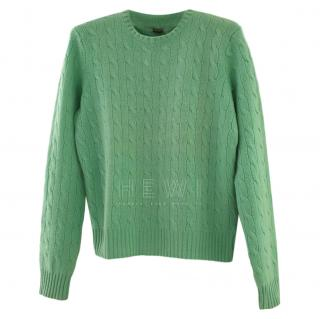 Ralph Lauren Black Label Green Cashmere Cable Knit Sweater