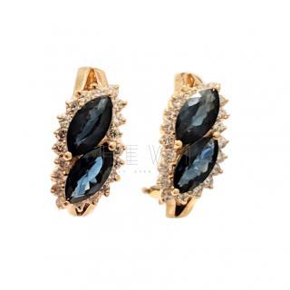 Bespoke sapphire/ diamond and yellow gold pierced earrings
