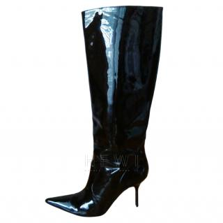 Dolce & Gabbana black patent pointed knee boots