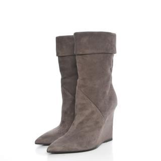 Saint Laurent grey suede wedge short boots