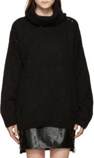 Saint Laurent runway black distressed rollneck mohair sweater