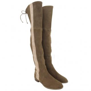 Stuart Weitzman khaki side stripe suede over the knee boots.