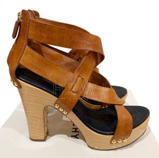 Givenchy Tan PLatform Clog Sandals