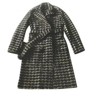 Lanvin Black & White Alpaca & Mohair Blend Tweed Coat