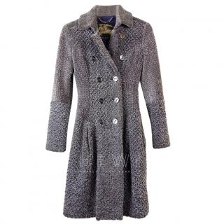 Burberry Grey Double Breasted A-Line Coat