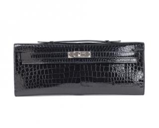 Hermes Black Crocodile Kelly Cut w/ PHW