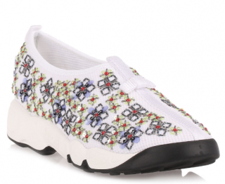 Dior Fusion white embroidered flower sneakers
