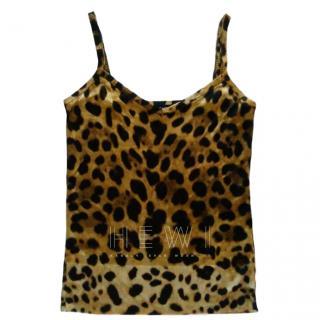 Dolce & Gabbana Leopard Print Silk Tank Top