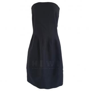 Jil Sander Black Wool Twill Strapless Dress
