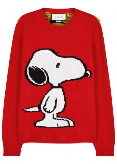 Gucci Red Snoopy Tiger Stripe Sweater