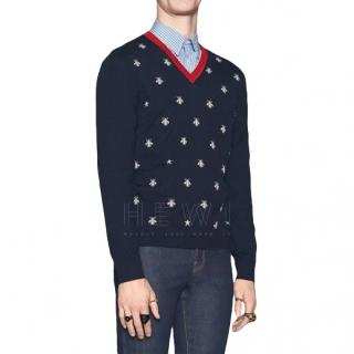 Gucci Navy Blue Bee Embroidered Wool Jumper