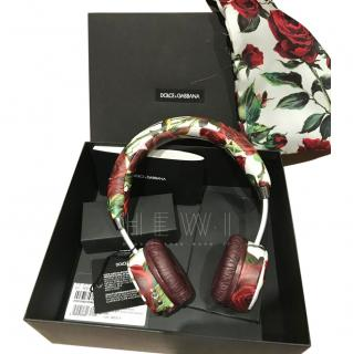 Dolce & Gabbana Rose Print Wireless Leather Headphones
